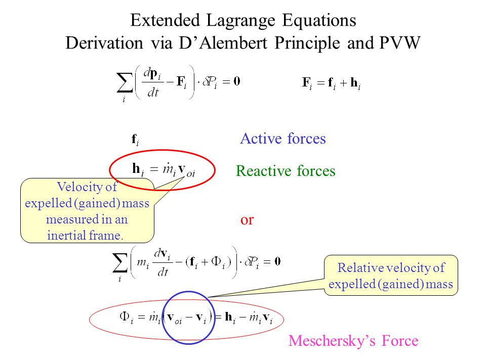 Extended Lagrange Equations Derivation via D'Alembert Principle and PVW