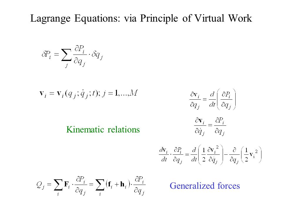 Lagrange Equations: via Principle of Virtual Work