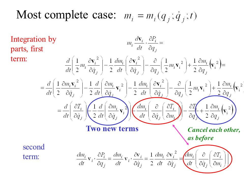 Most complete case: Integration by parts, first term: Two new terms