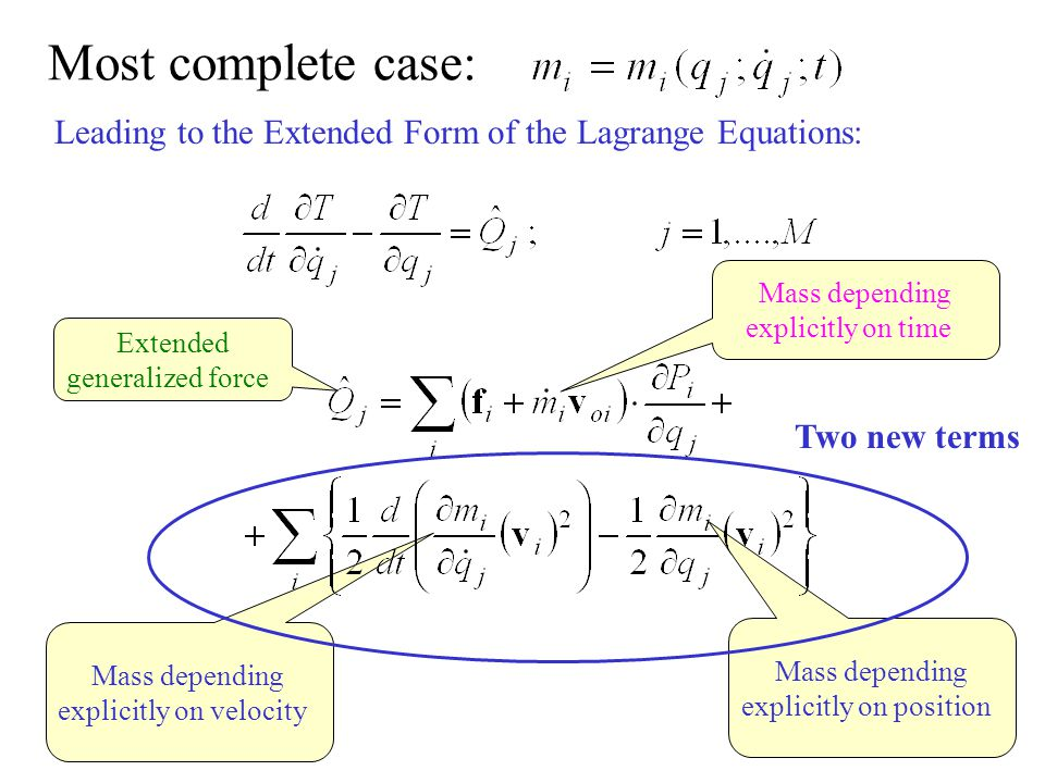 Most complete case: Leading to the Extended Form of the Lagrange Equations: Mass depending. explicitly on time.
