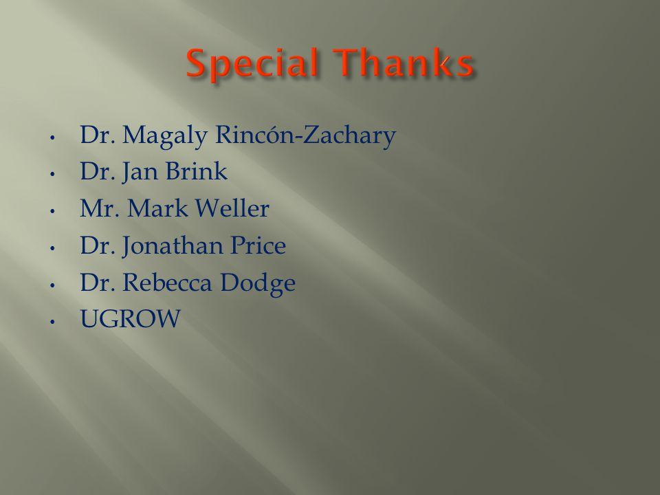 Special Thanks Dr. Magaly Rincón-Zachary Dr. Jan Brink Mr. Mark Weller