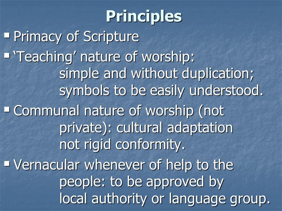 Principles Primacy of Scripture
