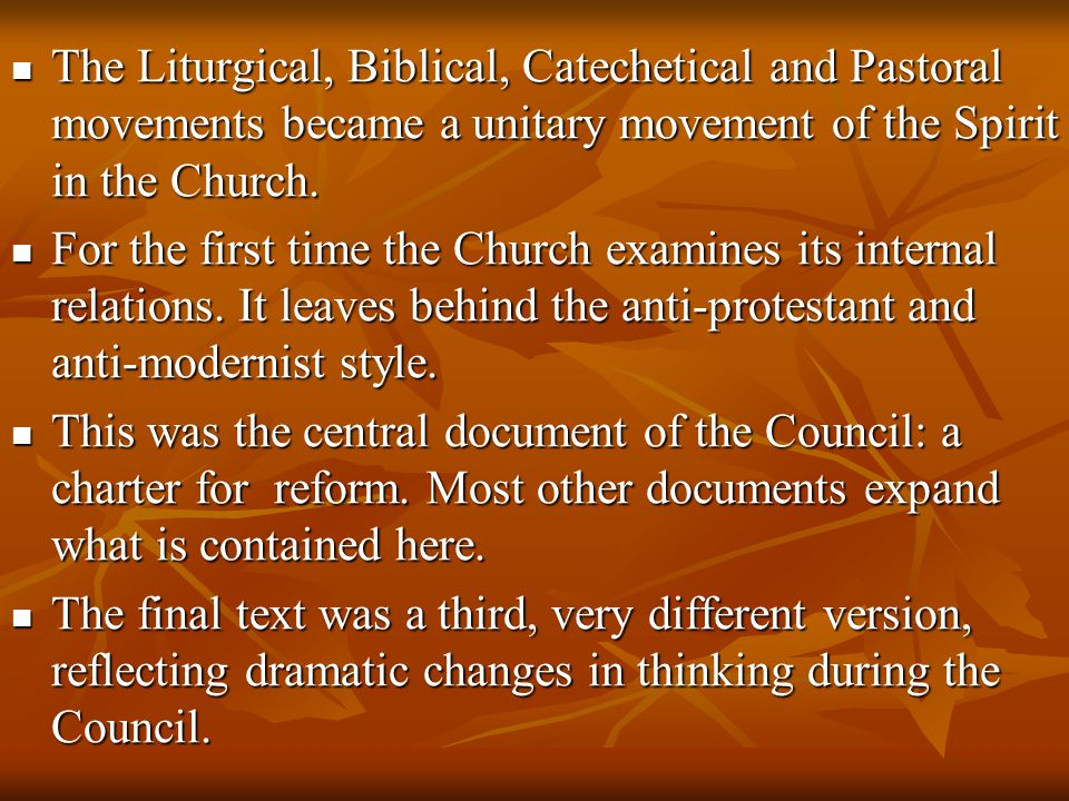 The Liturgical, Biblical, Catechetical and Pastoral movements became a unitary movement of the Spirit in the Church.