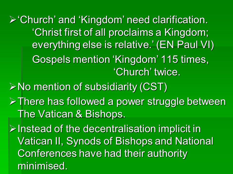 'Church' and 'Kingdom' need clarification