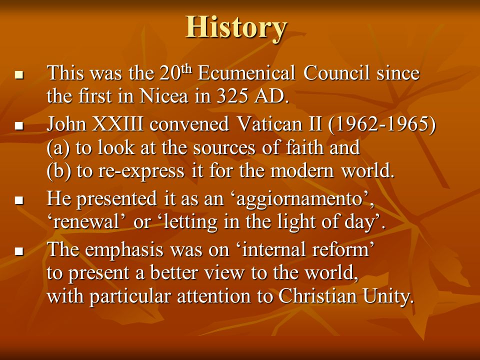 History This was the 20th Ecumenical Council since the first in Nicea in 325 AD.