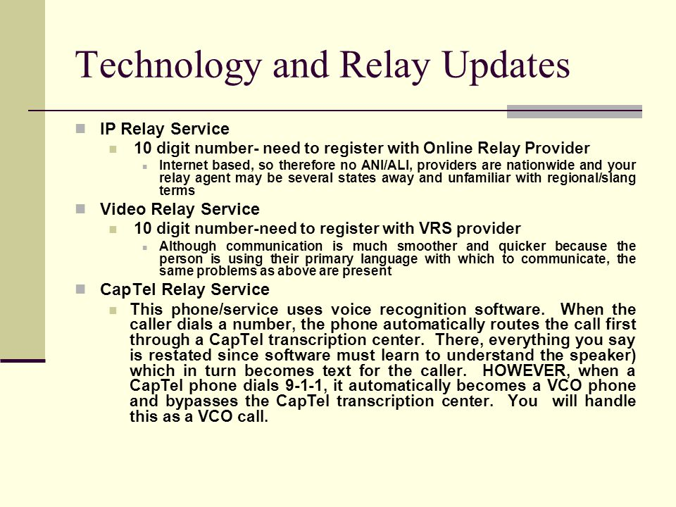 Technology and Relay Updates