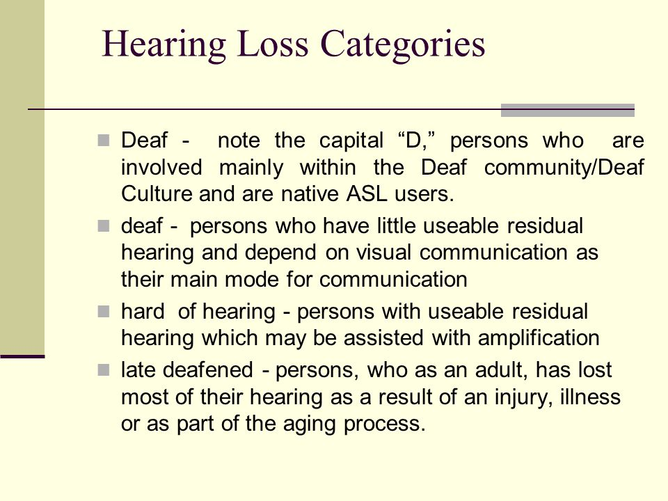 Hearing Loss Categories