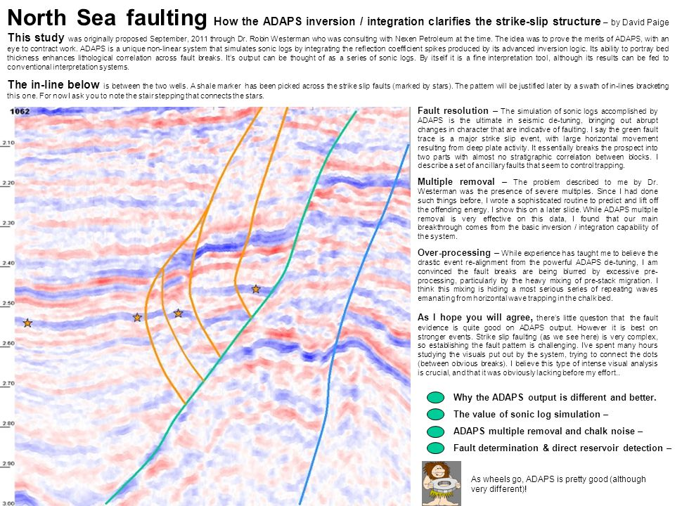 North Sea faulting How the ADAPS inversion / integration clarifies the strike-slip structure – by David Paige This study was originally proposed September, 2011 through Dr. Robin Westerman who was consulting with Nexen Petroleum at the time. The idea was to prove the merits of ADAPS, with an eye to contract work. ADAPS is a unique non-linear system that simulates sonic logs by integrating the reflection coefficient spikes produced by its advanced inversion logic. Its ability to portray bed thickness enhances lithological correlation across fault breaks. It's output can be thought of as a series of sonic logs. By itself it is a fine interpretation tool, although its results can be fed to conventional interpretation systems.