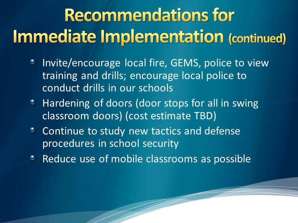 Recommendations for Immediate Implementation (continued)