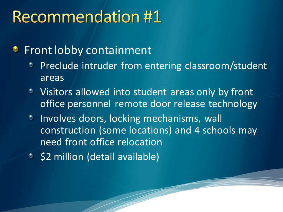 Recommendation #1 Front lobby containment