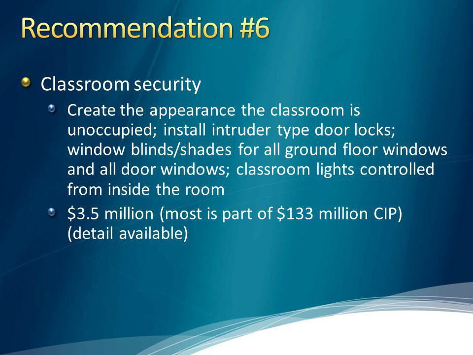 Recommendation #6 Classroom security