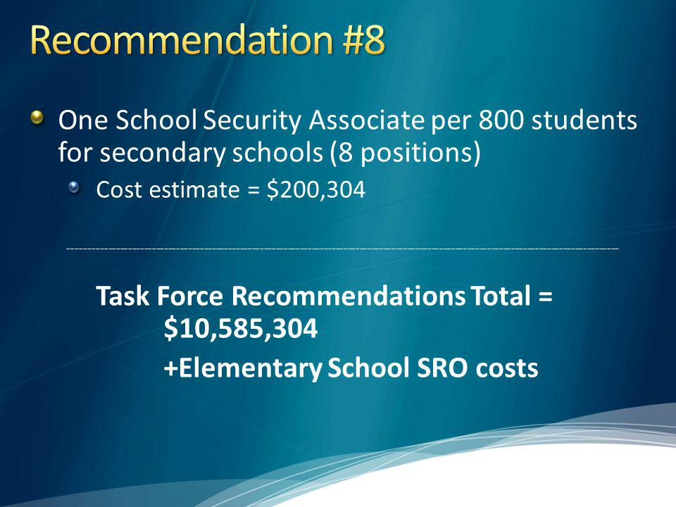 Recommendation #8 One School Security Associate per 800 students for secondary schools (8 positions)