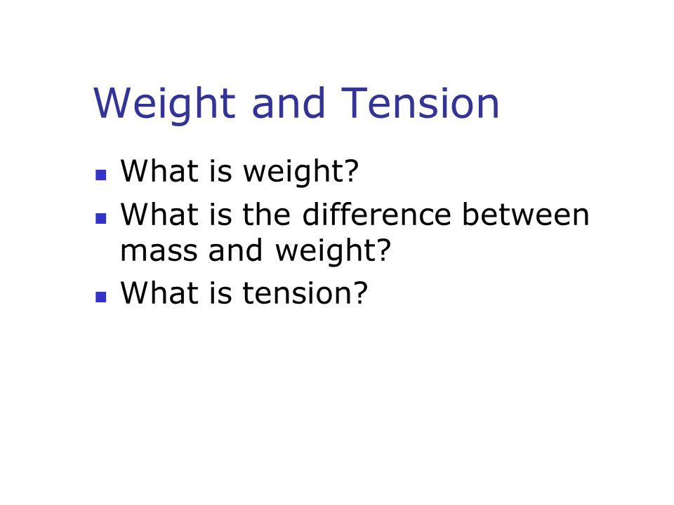 Weight and Tension What is weight