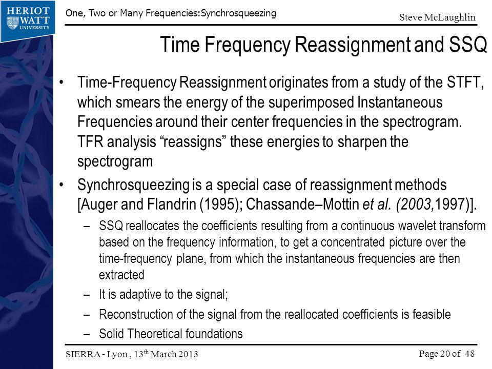 Time Frequency Reassignment and SSQ