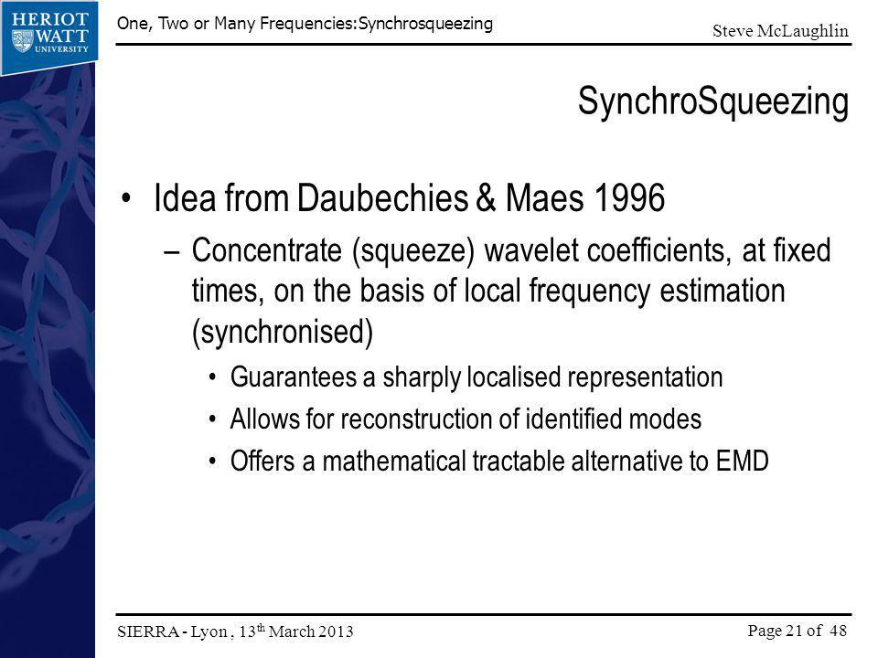 Idea from Daubechies & Maes 1996