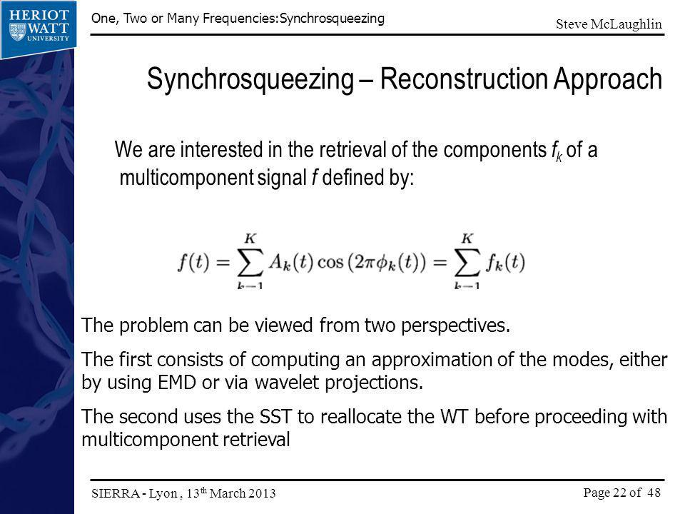Synchrosqueezing – Reconstruction Approach