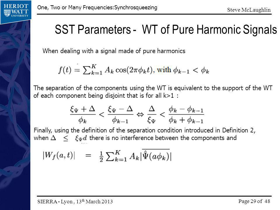 SST Parameters - WT of Pure Harmonic Signals