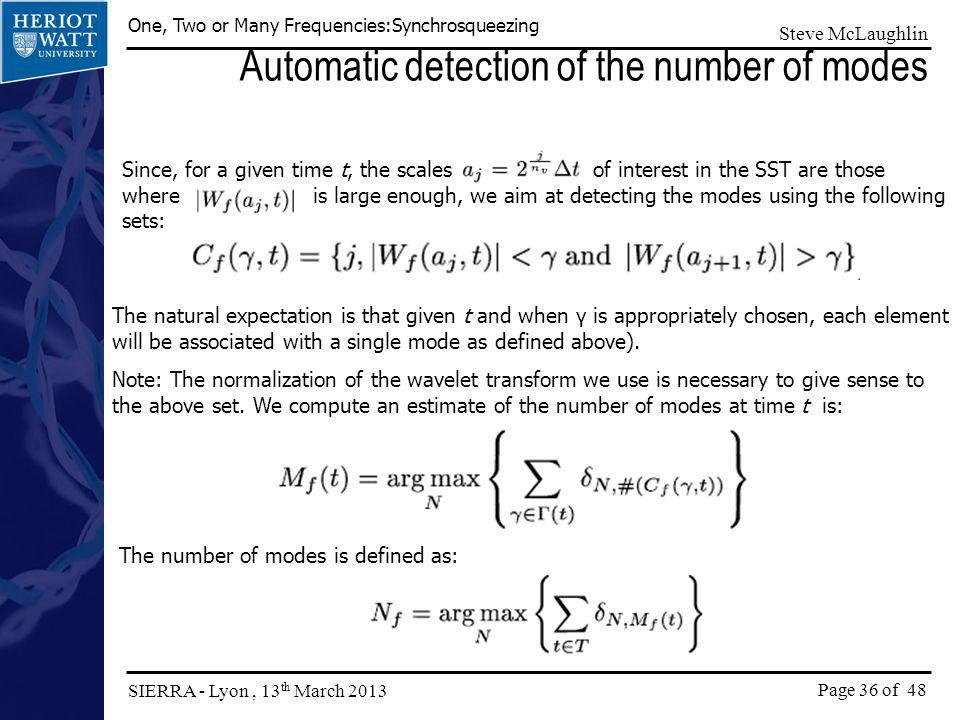 Automatic detection of the number of modes