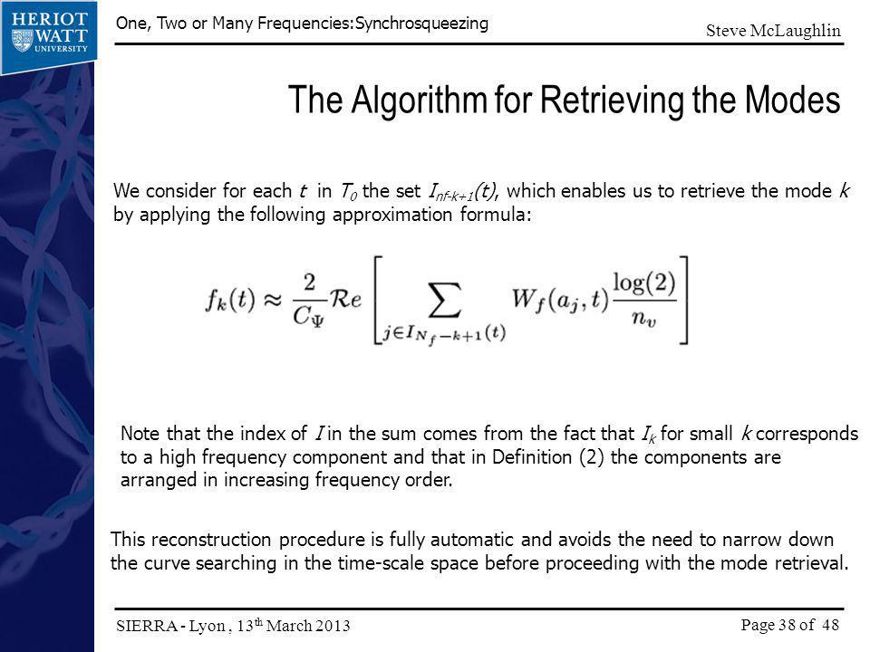The Algorithm for Retrieving the Modes