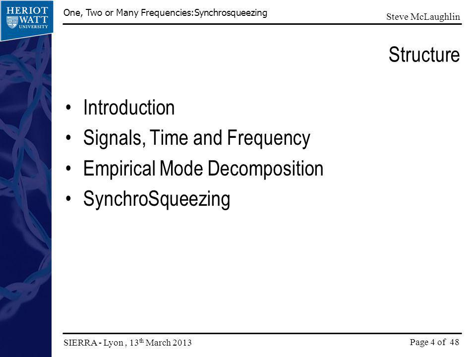 Structure Introduction Signals, Time and Frequency Empirical Mode Decomposition SynchroSqueezing