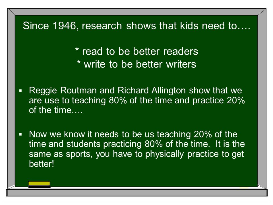 Since 1946, research shows that kids need to…
