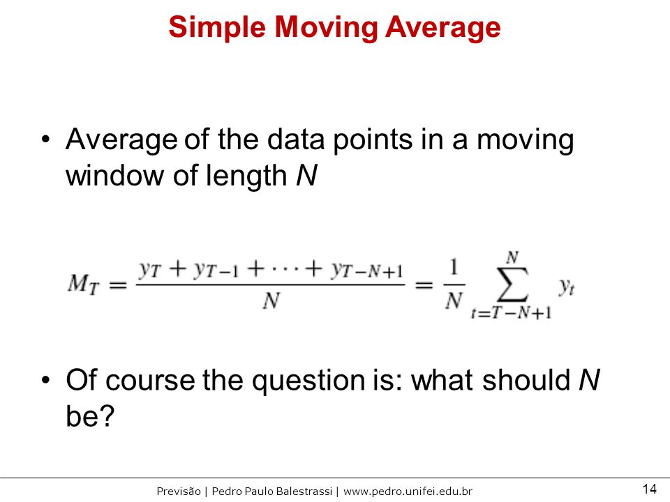 Simple Moving Average Average of the data points in a moving window of length N.