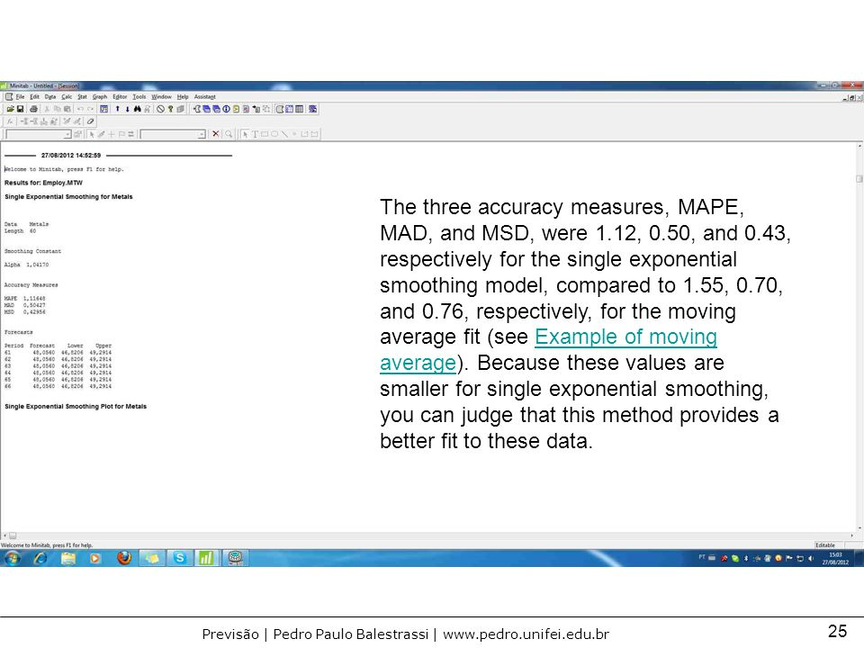 The three accuracy measures, MAPE, MAD, and MSD, were 1. 12, 0