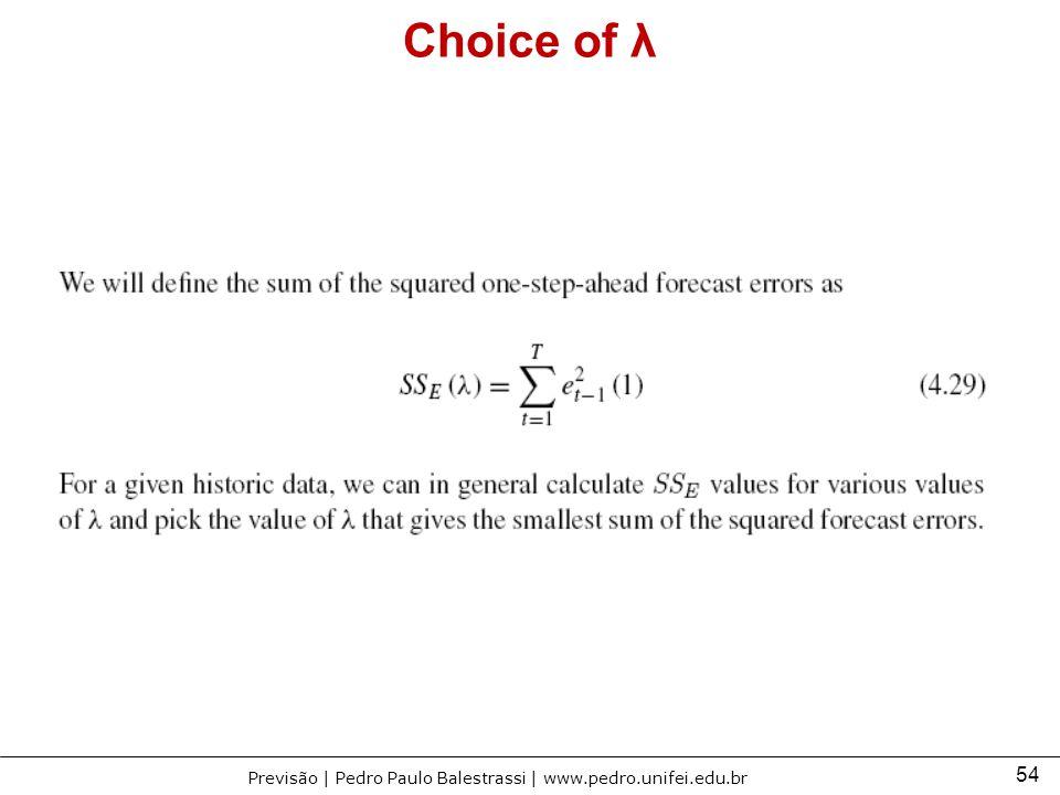 Choice of λ