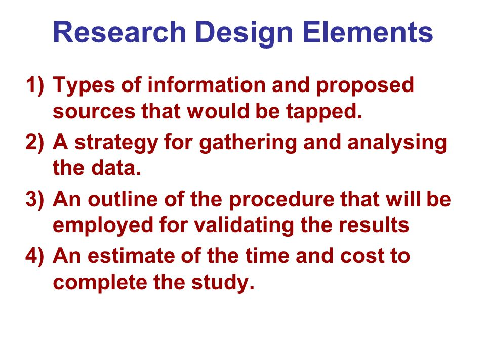 Research Design Elements