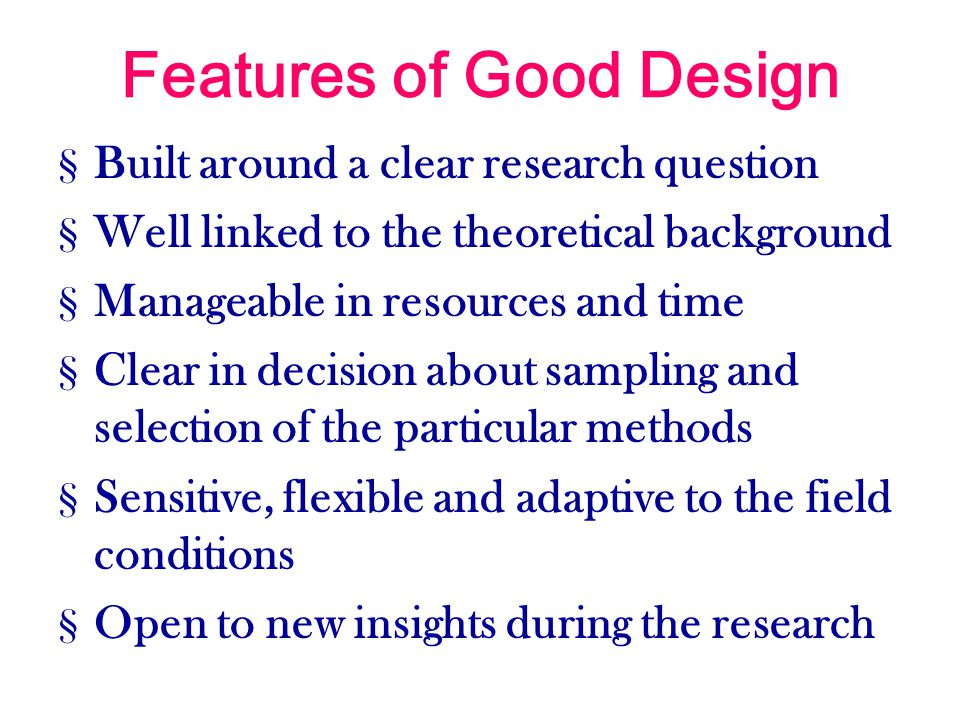 Features of Good Design