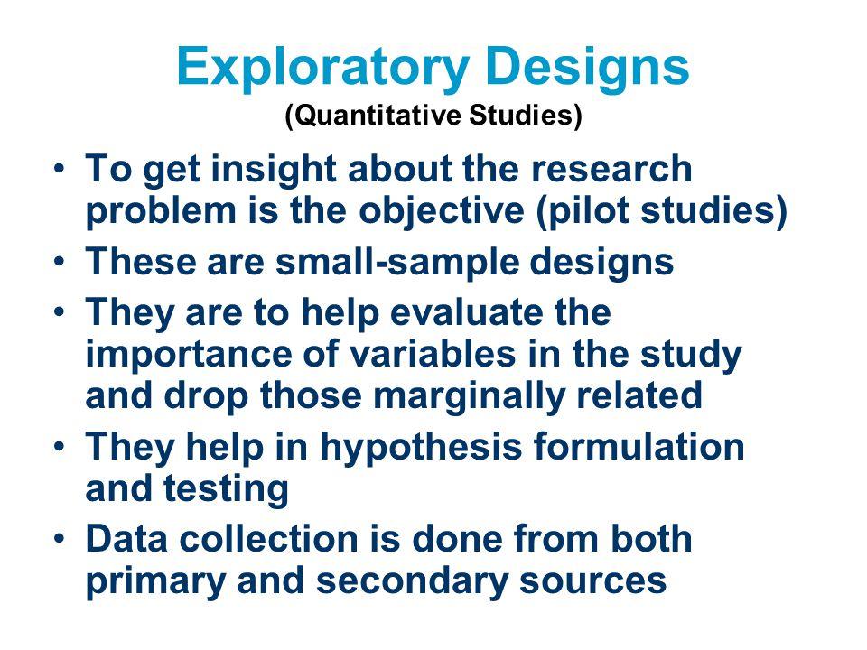 Exploratory Designs (Quantitative Studies)