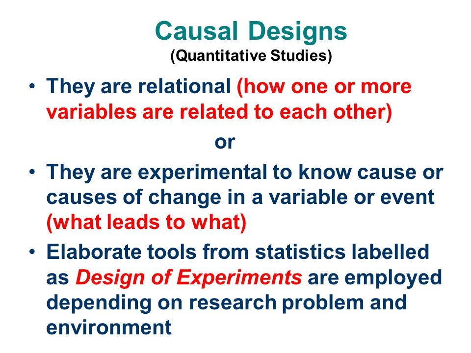 Causal Designs (Quantitative Studies)