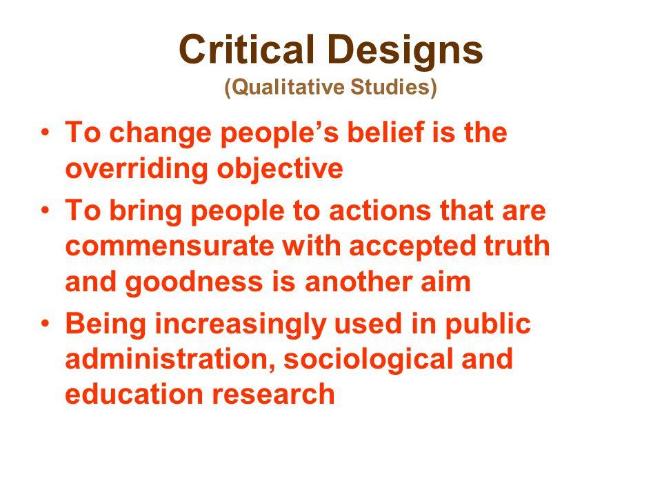 Critical Designs (Qualitative Studies)