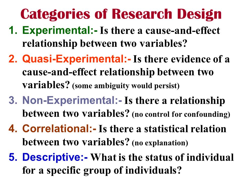 Categories of Research Design