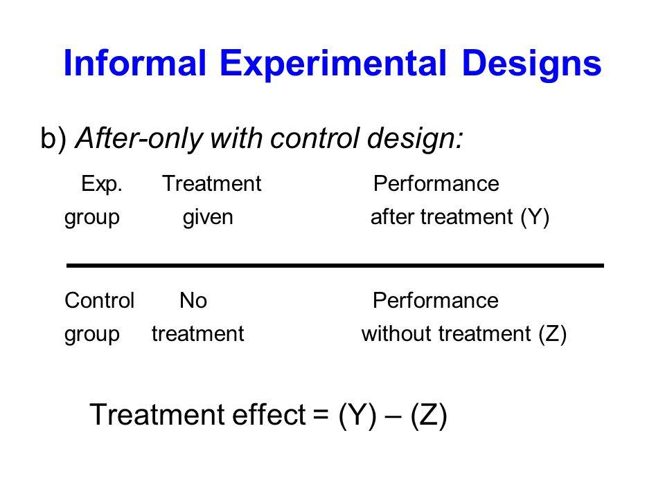 Informal Experimental Designs