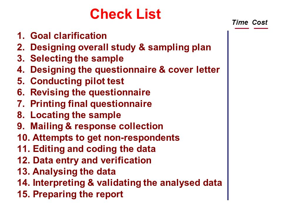 Check List Goal clarification Designing overall study & sampling plan