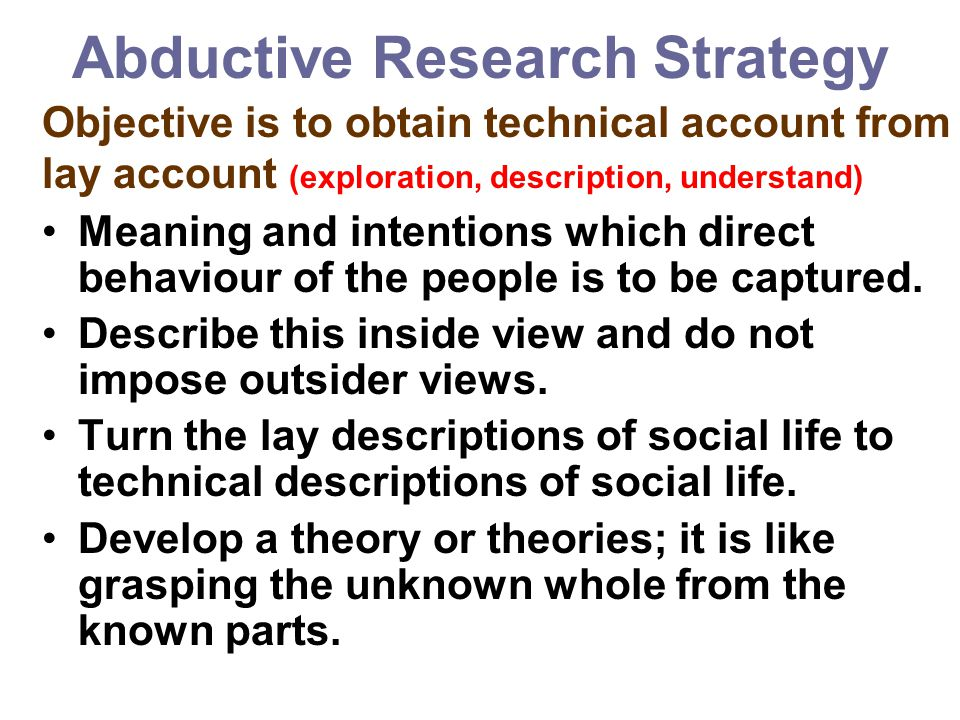 Abductive Research Strategy