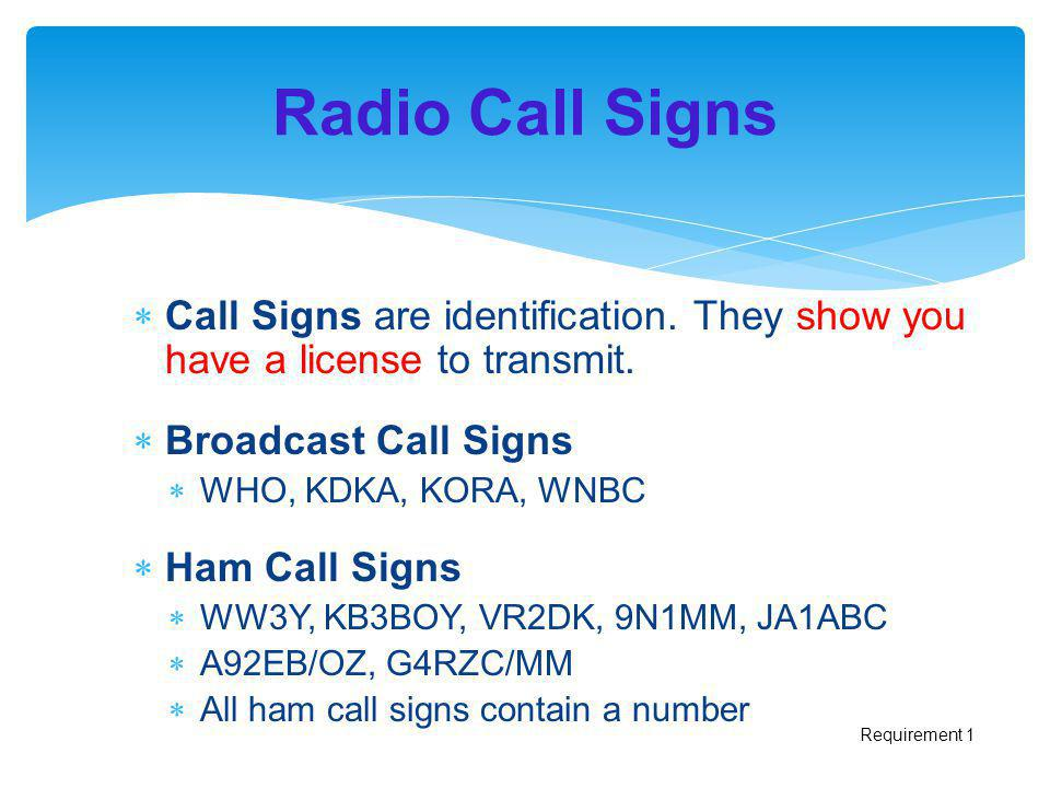 Radio Call Signs Call Signs are identification. They show you have a license to transmit. Broadcast Call Signs.