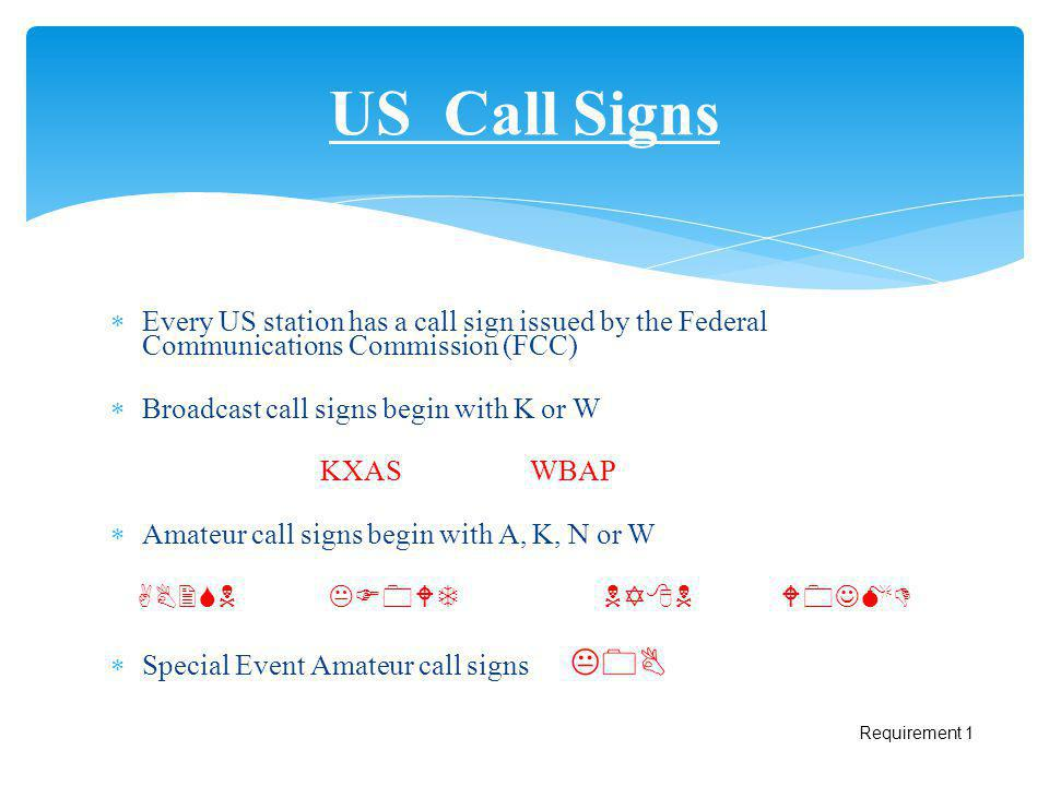 US Call Signs Every US station has a call sign issued by the Federal Communications Commission (FCC)