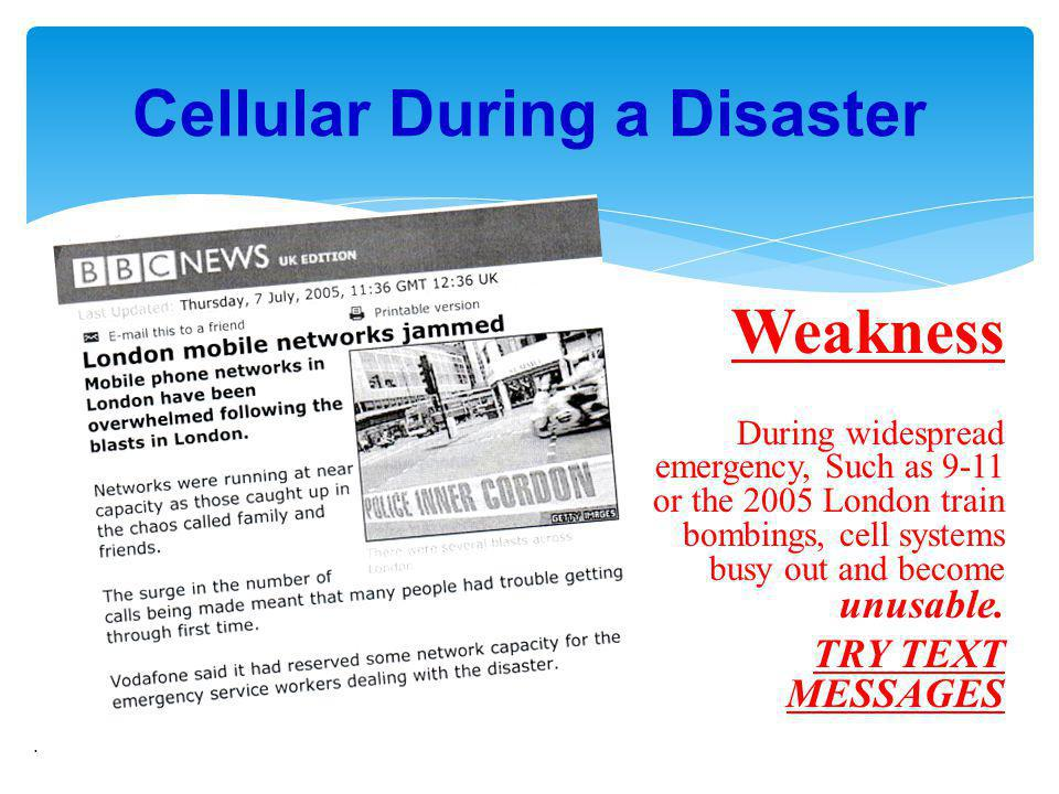 Cellular During a Disaster