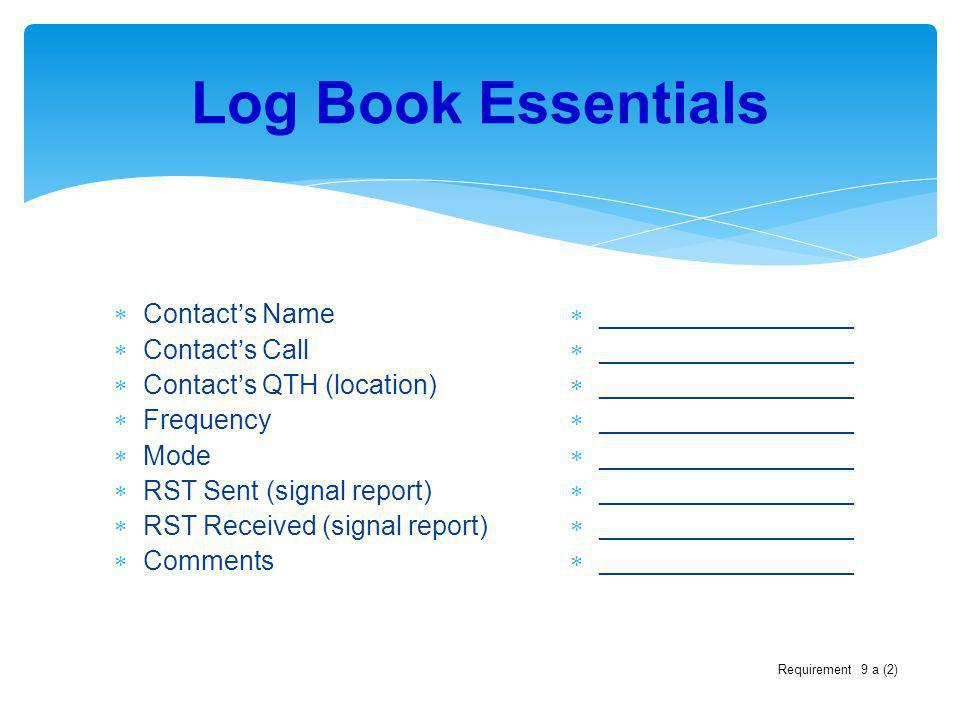 Log Book Essentials Contact's Name Contact's Call