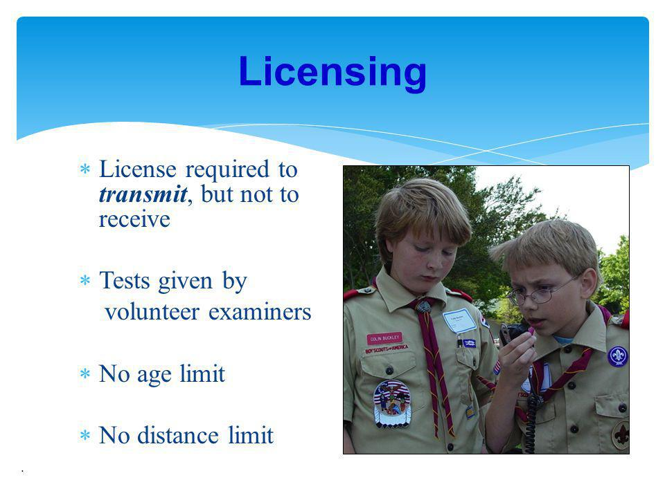 Licensing License required to transmit, but not to receive