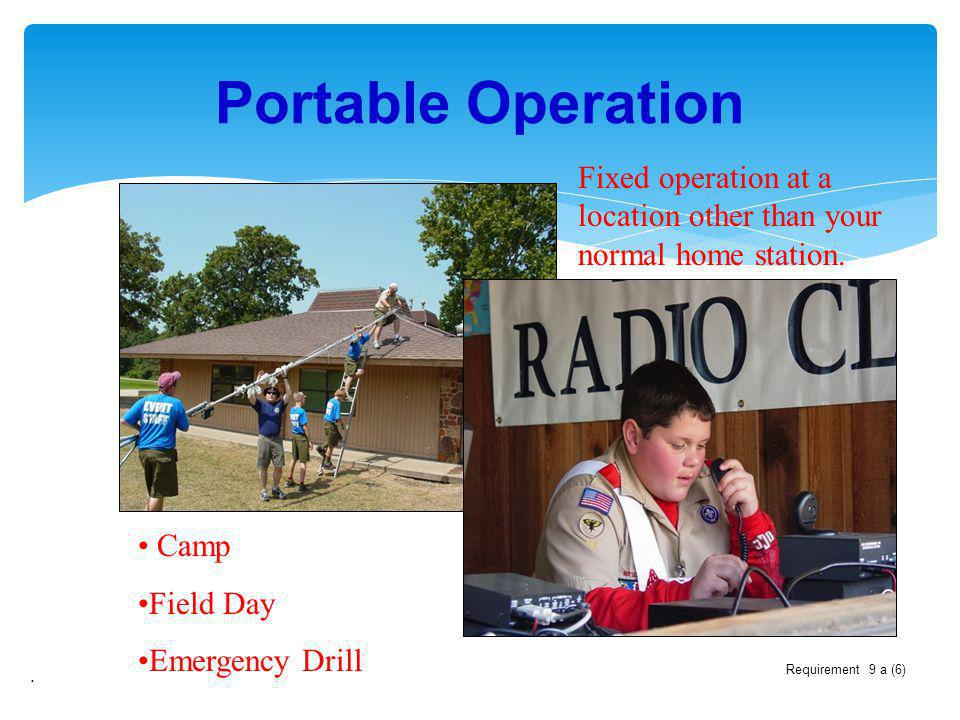 Portable Operation Fixed operation at a location other than your normal home station. Camp. Field Day.