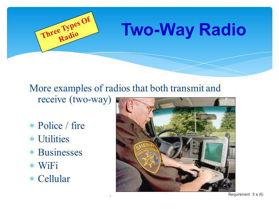 Two-Way Radio Three Types Of Radio. More examples of radios that both transmit and receive (two-way)