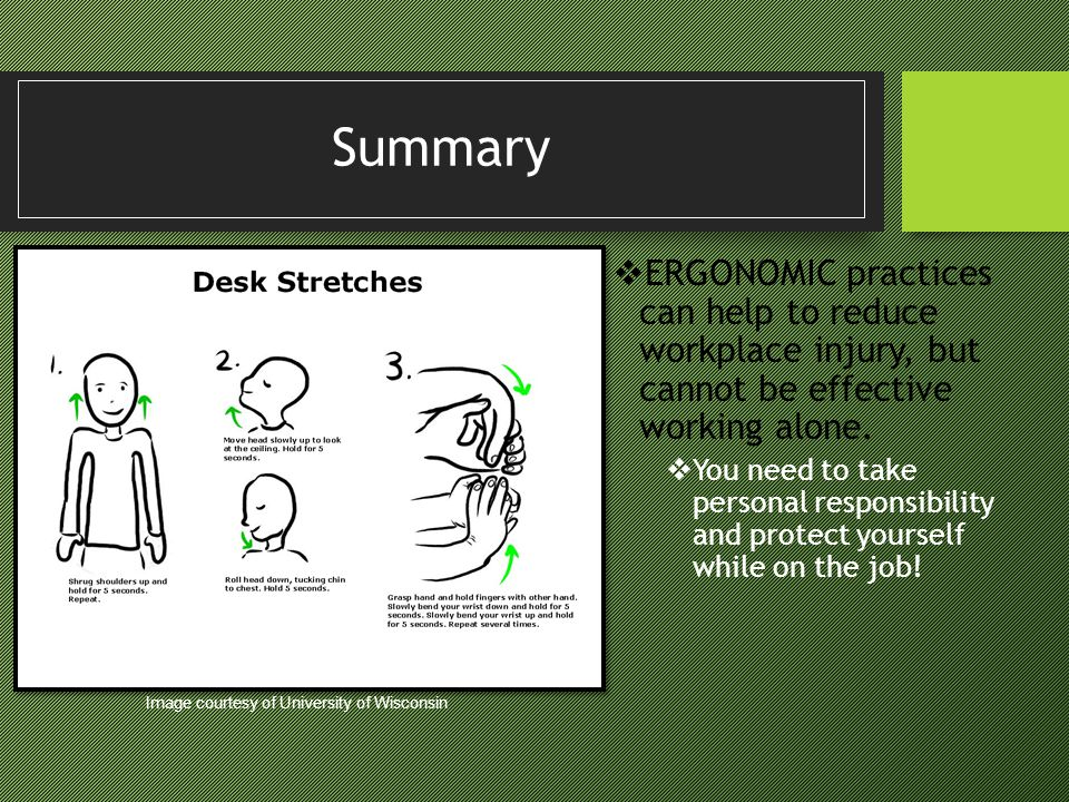 Summary ERGONOMIC practices can help to reduce workplace injury, but cannot be effective working alone.