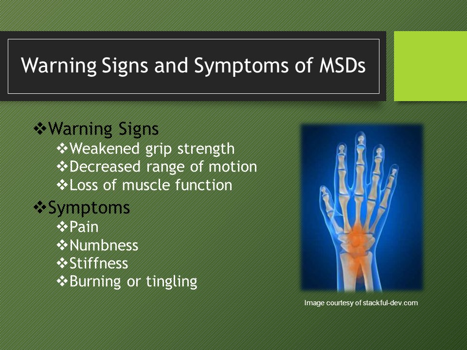 Warning Signs and Symptoms of MSDs