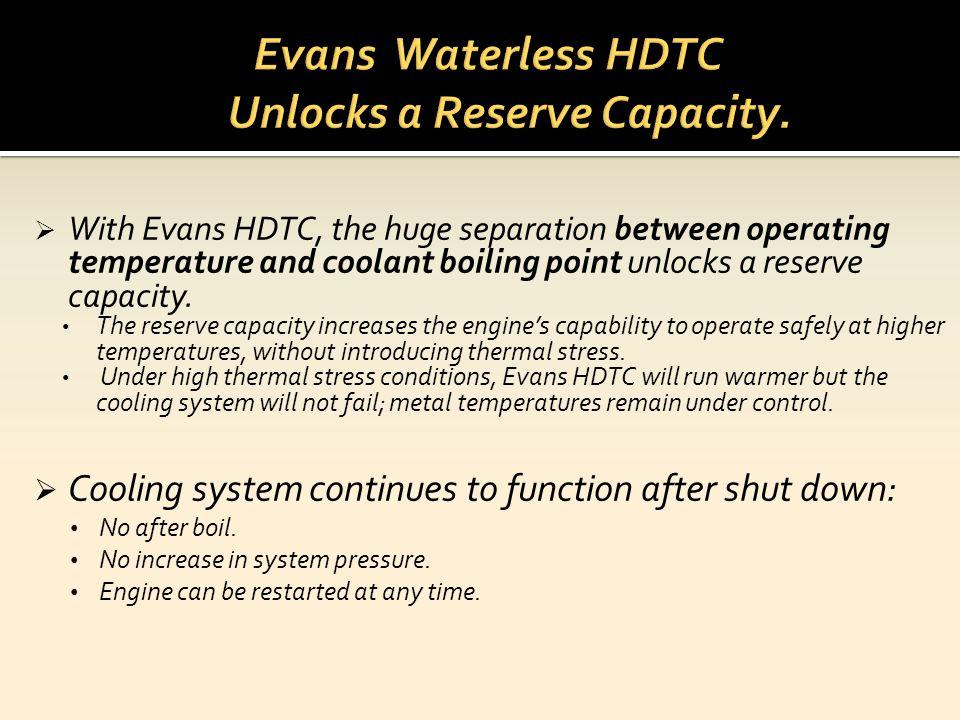 Evans Waterless HDTC Unlocks a Reserve Capacity.