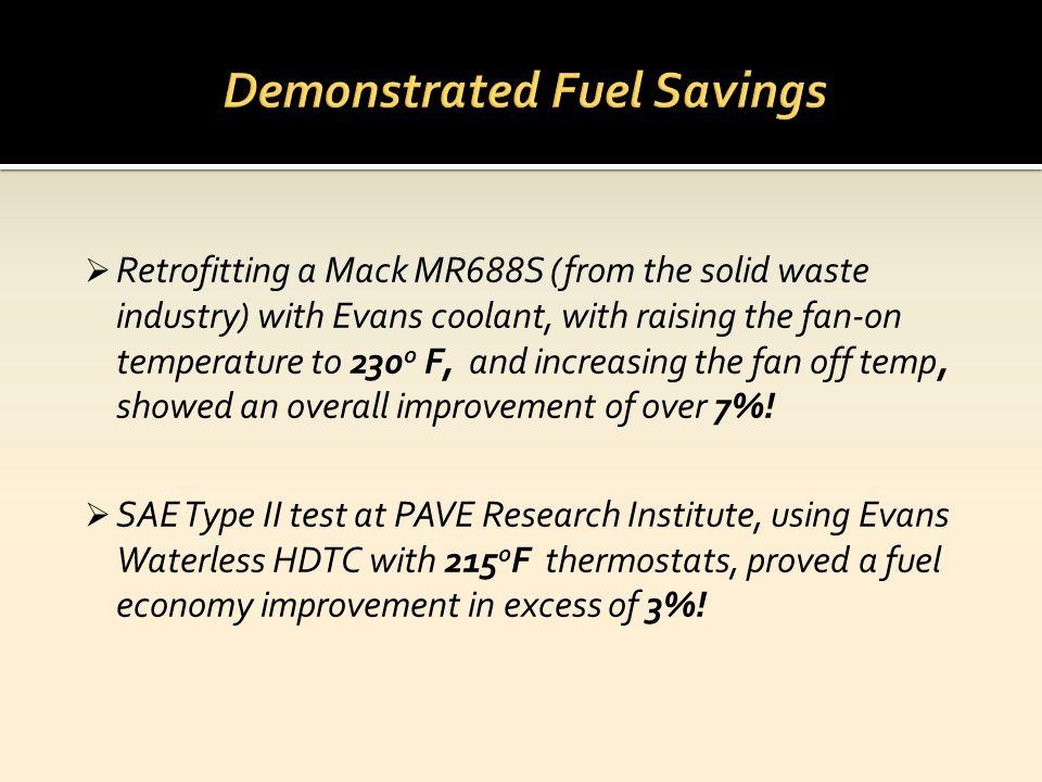 Demonstrated Fuel Savings