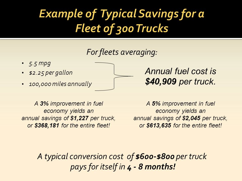 Example of Typical Savings for a Fleet of 300 Trucks