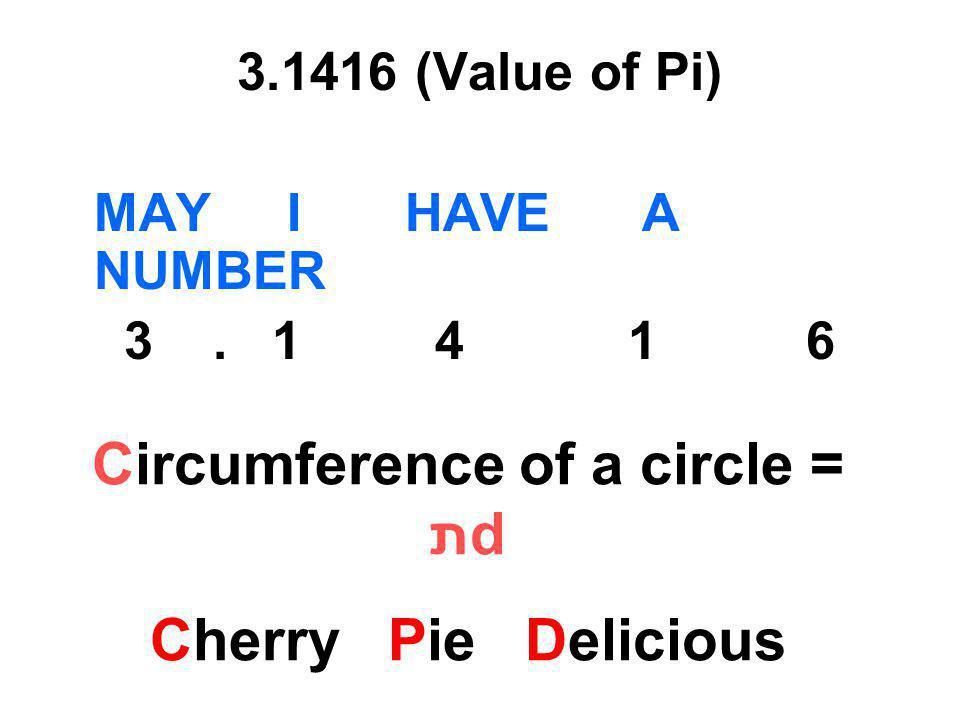 Circumference of a circle = תd